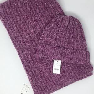 BROOKS BROTHERS Winter Scarf and Hat Duo OS Purple